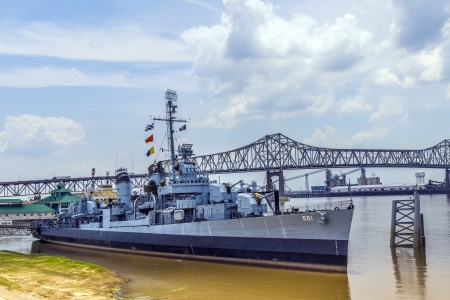 BATON ROUGE, USA - JULY 13: USS Kidd serves as museum   on July 13, 2013 in Baton Rouge, USA. USS Kidd was the first ship of the US Navy to be named after Rear Admiral Isaac C. Kidd, who died on the bridge of his flagship USS Arizona in the Pearl Harbor a