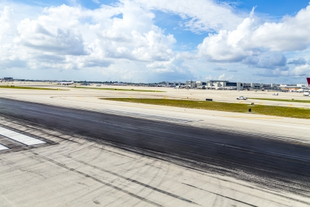 historically: MIAMI, USA - AUGUST 7: Miami international Airport on August 7, 2013 in Miami, USA. The Airport , also known as MIA and historically Wilcox Field, is the primary airport serving Florida area.