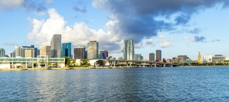 travel location: skyline of Miami Florida with  the water of Biscayne Bay  Panoramic skyline of the World famous travel location