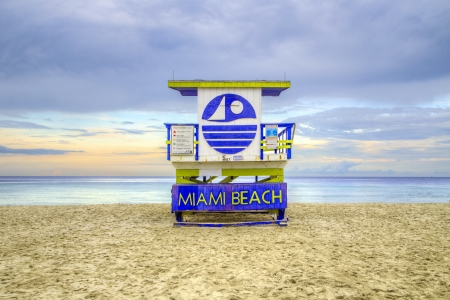 wooden beach hut in Art deco style im south beach Banco de Imagens