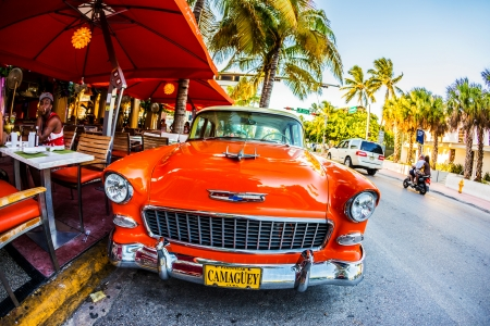 MIAMI , USA - July 31  Retro Camaguey Car parked on Ocean Drive on July 31, 2013 in Miami, USA People have lunch in restaurant on foreground