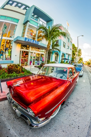 MIAMI, USA - July 31  classic Ford car parks in the art deco district on July 31, 2013 in Miami Beach, Florida  Art Deco Life in South Beach is one of the main tourist attractions in Miami