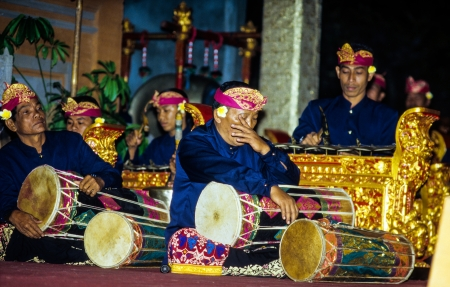 ensemble: UBUD, INDONESIA-JUL 6  A Gamelan musical ensemble  plays during the Galungan festival on July 6th 2004 in Ubud, Indonesia  The festival is held in the 11th week of the 210-day Pawukon calendar