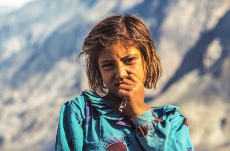 GILGIT, PAKISTAN - Juli 1  portrait of unknown farmer woman on July 1, 1988 in Gilgit, Pakistan  People suffer in that area because of the Afghanistan war
