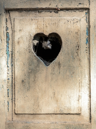 meran: old wooden door in meran, Tirol, Italy with a carved romantic heart Stock Photo