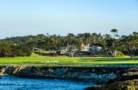 PEBBLE BEACH, USA - JULY 27  beautiful houses at the Pebble Beach Golf Course in Pebble Beach on July 27, 2013  Pebble Beach is part of the famous 17 miles drive area