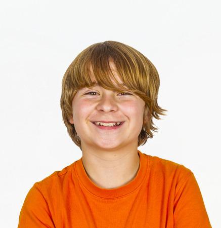 happy boy in Studio isolated on white photo