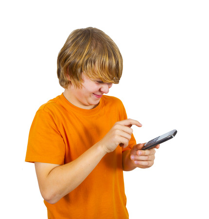 boy is using the mobile and speaks photo