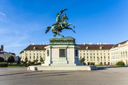 archduke: horse and rider statue of archduke Karl at the Heldenplatz in Vienna, Austria.