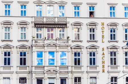 VIENNA, AUSTRIA -APRIL 25: facade of hotel Sacher on April 25, 2009 in Vienna, Austria.The privately owned 5 star deluxe Hotel Sacher Wien has been established in 1876 by Eduard Sacher, son of the creator of the famous Original Sacher-Torte.