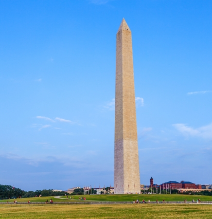Outdoor view of Washington Monument in Washington DC with beautiful blue sky in background