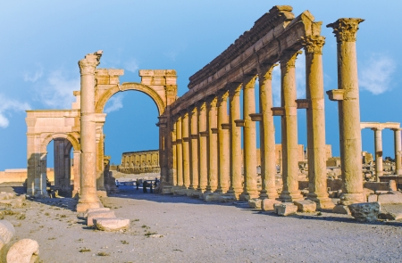 Ancient Roman time town in Palmyra, Syria photo