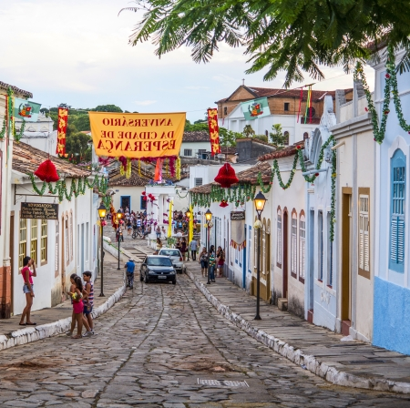 counterparts: GOIAS, BRAZIL -  OCTOBER 17: A cobblestone street in the Unesco world heritage site of Goias on Oct 17, 2013 in Goias, Brazil. The town was founded in 1727 as Vila Boa and, like its Minas counterparts, became rich on gold, before becoming the capital of G Editorial