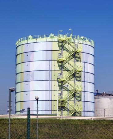 industry park: silo in Industry Park in beautiful landscape near Frankfurt Editorial