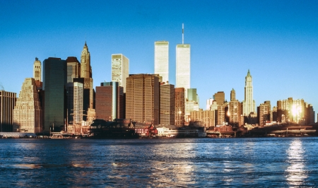wtc: NEW YORK - SEPTEMBER 30  Lower mahattan and  World Trade Center on September 30, 1996 in New York City, America   the WTC was destroyed by 911 from terrorists