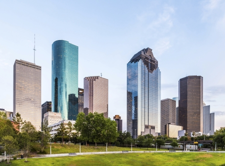 skyline of houston in the evening with bright lights