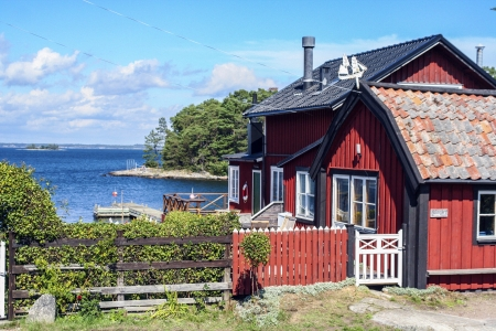 iron oxides: JOENKOEPING, SWEDEN - AUG 13: house near Joenkoeping on August 13, 2008 in Joenkoeping, Sweden. Joenkoeping is situated by the southern end of Swedens second largest lake, Vaettern. Editorial