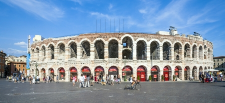 1st century ad: VERONA, ITALY  - AUG 5: visitors at the arena di verona on  Aug 5, 2009 in Verona, Italy.  The Arena was built by the Romans in the 1st century AD, in the Augustan period.