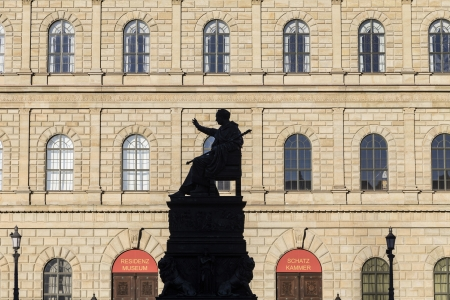 MUNICH, GERMANY - DEC 27: facade of residence with statue of king Luitpold on December 27, 2013 in Munich, Germany. The  Residence is the former royal palace of the Bavarian monarchs.