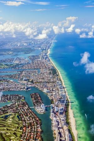 south miami: aerial oftown and beach of Miami Stock Photo