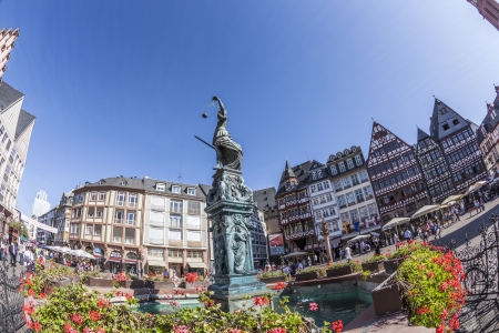 roemer: FRANKFURT, GERMANY - OCT 1: famous fountain of Justice at the roemer on OCT 1, 2013 in Frankfurt, Germany. The justicia fountain, also  Gerechtigkeitsbrunnen is a symbol of Frankfurt. The fountain was built in 1611. Editorial