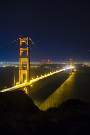 san francisco golden gate bridge: famous San Francisco Golden Gate bridge by night Stock Photo