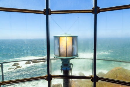 lighthouse with beam: famous Point Arena Lighthouse in California