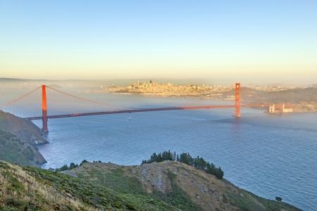 san francisco golden gate bridge: famous San Francisco Golden Gate bridge in late afternoon light