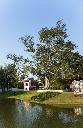 beautiful buildings and park in the Sommerpalace Bang Pa In of the King of Thailand near Ayuttaya
