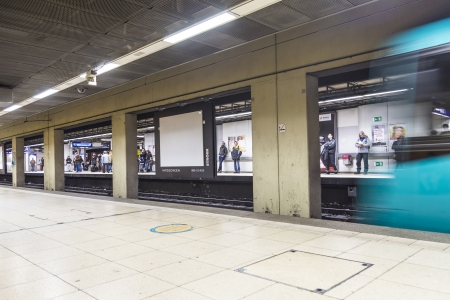 fare: FRANKFURT, GERMANY - JAN 19: subway leaving   Hauptwache on January 19, 2014 in  Frankfurt, Germany. With 181,000 passengers per day, Hauptwache station is the third busiest rapid transit station in Frankfurt. Editorial