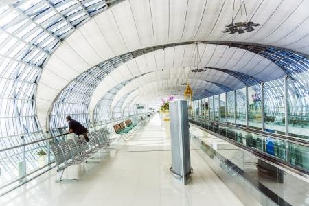 BANGKOK - JAN 5: departure terminal of Bangkok Suvarnabhumi International Airport on January 5,2010 in Bangkok, Thailand. The airport is handling about 45 million passengers annually.