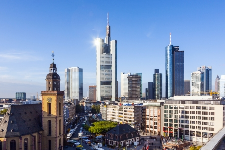 plazas: FRANKFURT, GERMANY - OCTOBER 9: view to skyline of Frankfurt with Hauptwache on October 9, 2009 Frankfurt, Germany. The Hauptwache is a central point  and one of the most famous plazas of Frankfurt.