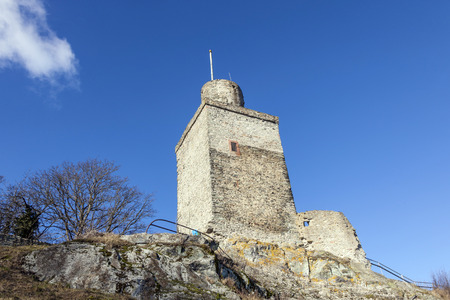 famous old castle Falkenstein under blue sky