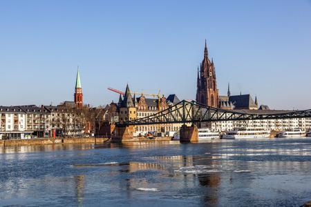 sachsenhausen: famous Eiserner steg at river Main in Frankfurt