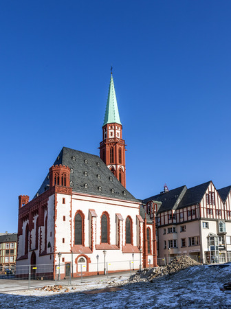 roemer: famous old Nikolai Church in Frankfurt at the central roemer place Editorial