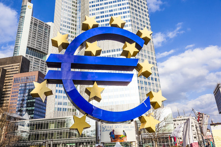FRANKFURT - FEBRUARY 24: Euro Symbol at Protest camp of  Occupy movement at the European Central Bank. It is part of the global Occupy Wall Street movement, February 25, 2012 in Frankfurt, Germany.