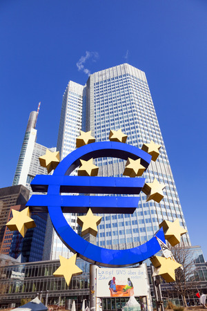 FRANKFURT, GERMANY - FEB 11: Big Euro Sign and banner let us speak about Future of the Occupy movement at the European Central Bank on February 11, 2011 in Frankfurt, Germany.