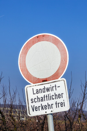 allowance: no traffic sign with allowance only for agricultural traffic