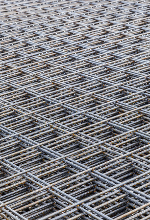 reinforcing: Steel Bars with rust stacked For Construction
