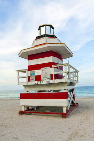 outpost: Lifeguards outpost tower in South Beach, Miami Stock Photo