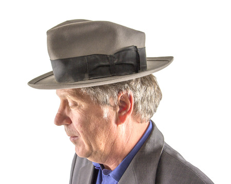 stetson: handsome man with hat in elegant suit Stock Photo
