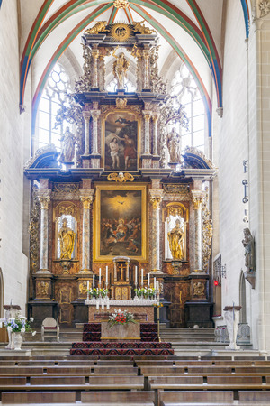 high altar: ERFURT, GERMANY - MAY 21: altar inside of Erfurt Cathedral on May 27, 2012 in Erfurt, Germany.  The magnificent high altar from 1697, a token of the enduring importance of Catholicism even in the region that gave birth to Luther's Reformation.