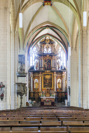 state of mood: ERFURT, GERMANY - MAY 21: altar inside of Erfurt Cathedral on May 27, 2012 in Erfurt, Germany.  The magnificent high altar from 1697, a token of the enduring importance of Catholicism even in the region that gave birth to Luther's Reformation.