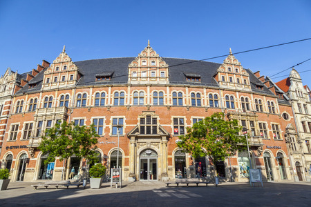 ERFURT, GERMANY - MAY 27:  Former Main Post Office on  May 27, 2012 in Erfurt, Germany. The main post office was built in 1886 in neo-gothic style with its prominent clock tower. Editorial