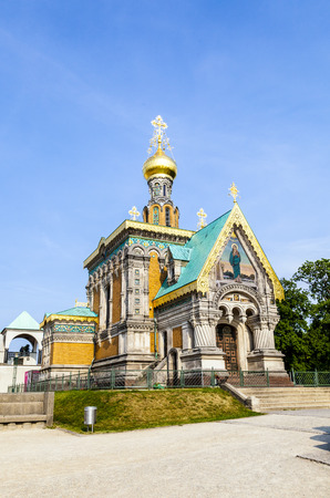chappel: orthodox russian chappel Darmstadt under blue sky Stock Photo