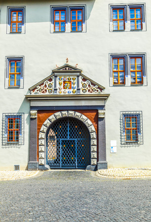 anna: decorated facade and gate of the anna amalia library Editorial