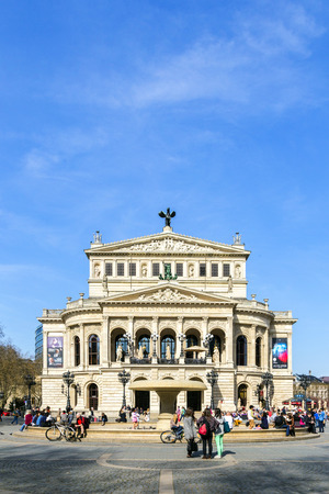 FRANKFURT - MARCH 29: Old Opera on March 29, 2014 in Frankfurt, Germany. Alte Oper is a concert hall build in 1970s on the site of and resembling the old Opera House destroyed in 1944.