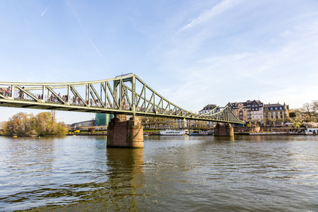 sachsenhausen: river main with bridge eiserner steg in Frankfurt
