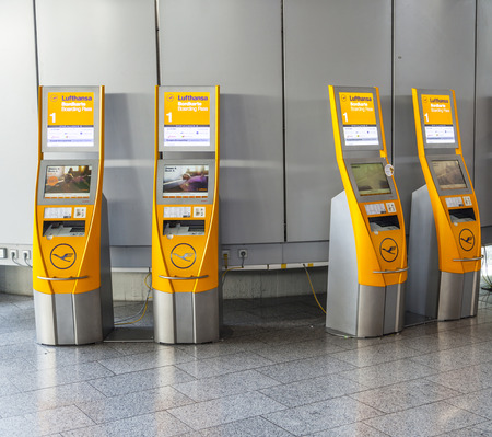 FRANKFURT, GERMANY - SEP 20: self check-in machines at Frankfurt International Airport on September 20, 2012 in Frankfurt, Germany. Frankfurt was the worlds 11th busiest airport in 2012 with 57.5m pax.
