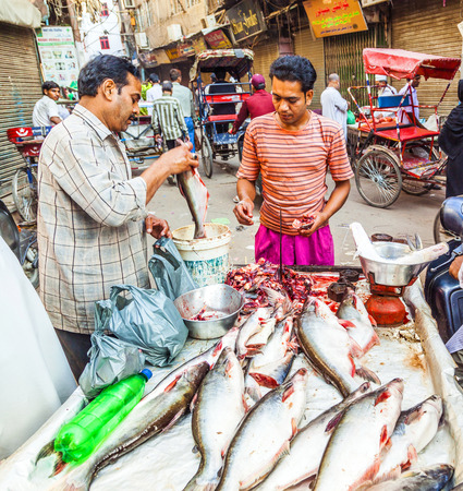 NEW DELHI, INDIA - OCTOBER 17: Selling fish on fish market in New Delhi, India on  October 16, 2012. Seafood is one of the main source of food for local people.